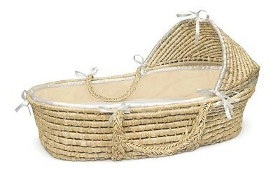 Ecru Waffle Natural Baby Infant Newborn Moses Basket w/ Hood & Bedding NEW
