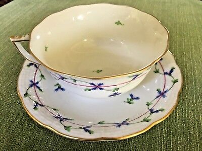 NEW HEREND BLUE GARLAND  CUP and SAUCER 734/PBG HANDPAINTED HUNGARY