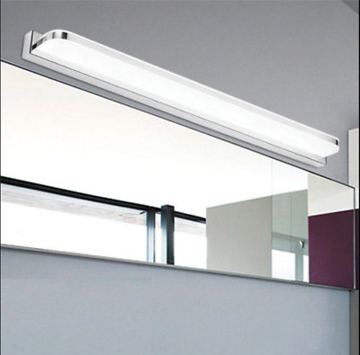 LED Mirror Light Modern Wall Lamp With Switch Stainless Steel vanity light White
