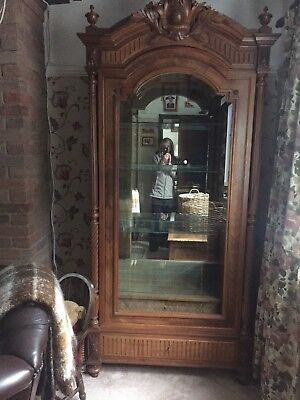 Antique French Oak Armoire  H 93. W41 D 19 Inch