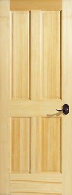 Vertical Grain Pine 4 Panel Interior Door, Slab or Prehung. MANY SIZES
