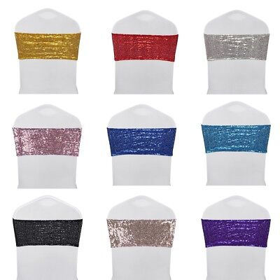 10 25 50 Sparkle Sequin Stretch Chair Sash Cover Band Ties Wedding Party Banquet