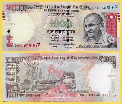 India 1000 Rupees p-107 2016 Letter R  UNC Banknote