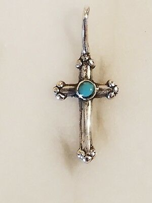 Vintage Sterling Silver Cross Set With Turquoise