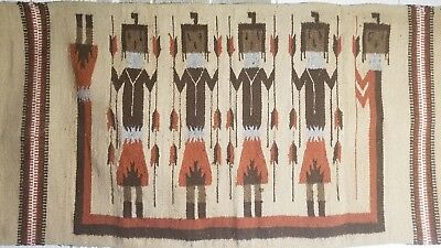 """Vintage 1930s Native American Navajo Hand Woven authentic YEI Rug 61"""" by 31.5"""""""