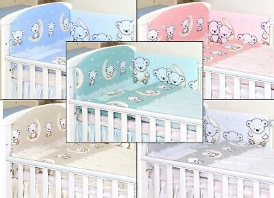GREEN TEDDY  MOON PATTERN Baby Bedding Set fit Cot 120x60cm or Cot Bed 140x70