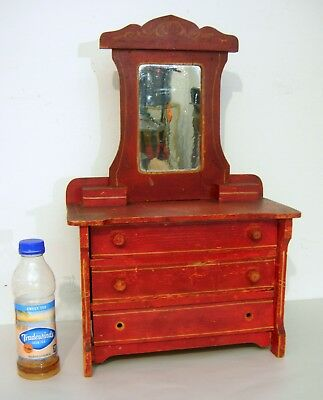 C. 1890 Cottage Chest with Mirror Red Painted Doll/ Children's Size Needs TLC