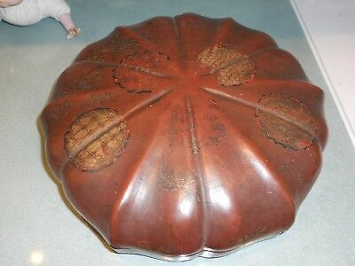 Antique Japanese / Chinese / Oriental Papier Mache Divided Serving Dish & Cover