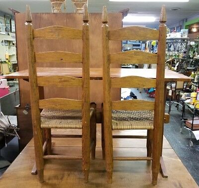 Antique Childs Wood TRESTLE TABLE & 2 Wood LADDERBACK CHAIRS