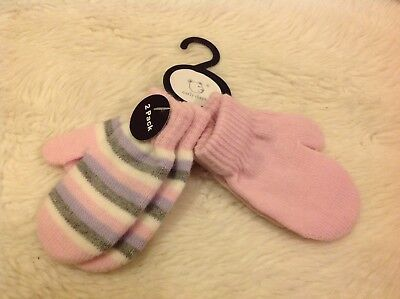 2 pairs Pink lilac grey striped warm knitted Toddler Baby scratch mittens gloves