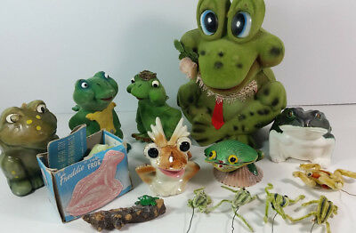 Lot of 14 FROGS Flocked Wind Up Bank Soap Candle Ceramic Shaker Pipe Cleaner