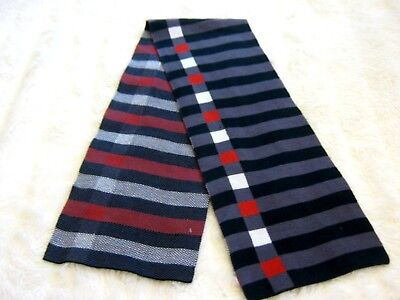 Junior Boys Black and Grey striped Red and White checked fine knit neck scarf