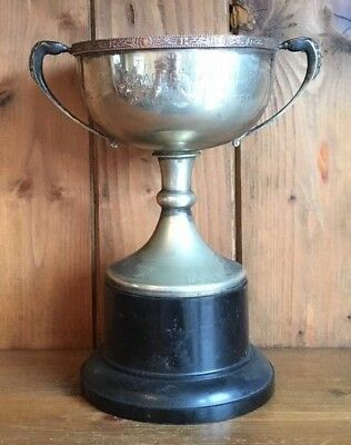 vintage large silver plate trophy, loving cup, trophies, trophy
