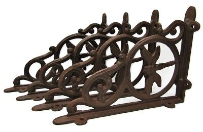 "Set of 4 Cast Iron Shelf Brackets New Antique-Style Rustic Dragonfly 9"" x 6.5"""