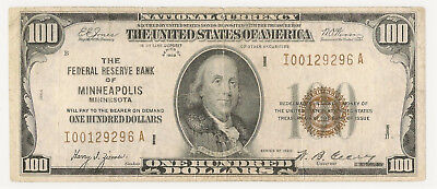 1929 $100 Federal Reserve Bank Note ~ Minneapolis I-A Block Fine! (Inv#296)
