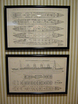 Titanic Ship Plans & Sections From Loss Inquiry    Framed Wall Art    Set Of Two