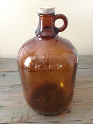 Glass Jug Bottle Amber Brown Glass 1 Gallon Large, Handle With Cap Vintage