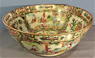 Antique 19th Century Chinese / Cantonese Famile Rose Porcelain Large Bowl