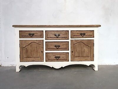 Farmhouse Style American Sideboard White And Oak Finish Hand Made Rustic
