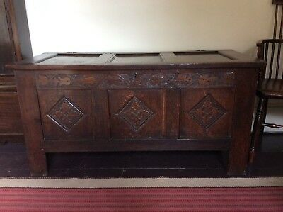 17th Century Oak Carved Chest Pegged Blanket Box Charles II Joined Welsh Coffer