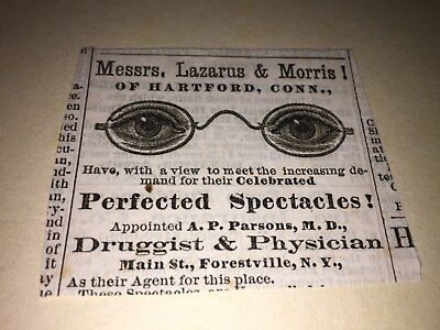 Vintage Messrs,lazarns & Morris Prefected Spectacles Ad, Forestville,ny