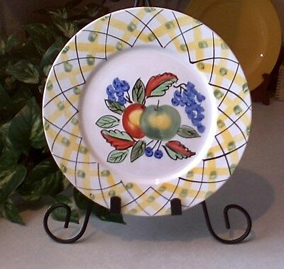 "ROYAL NORFOLK 10.5"" DINNER PLATE APPLES & YELLOW LATTICE No Chips No Cracks NEW"