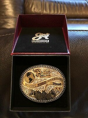 Gist Silversmiths Res World Champion Pinto Horse Silver Trophy Belt Buckle W Box