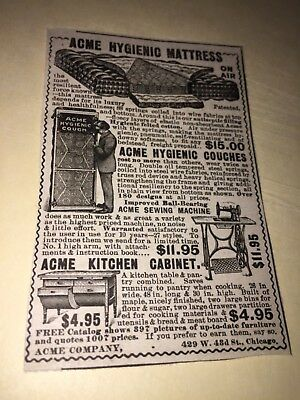 Vintage Acme Hygienic Mattress & Couches & Furniture Ad, Chicago