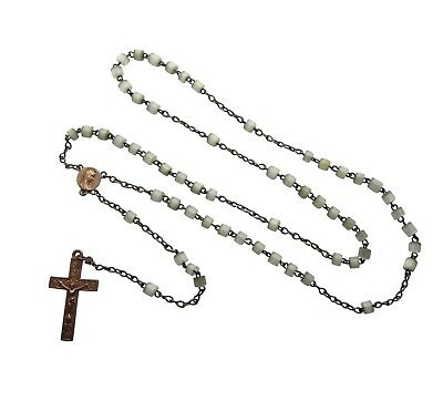 Mother of Pearl Rosary Beads with Copper Crucifix - 1920's Vintage Antique