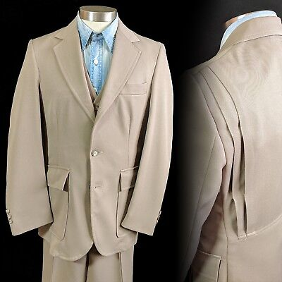 Vintage 1970s does 1930s Pleated Belt Back Three Piece Suit 36 30x30
