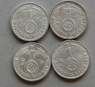 German Four (4) Coin Third Reich 5 Reichsmark Silver Set: 1936-A/D 1938-A/D Circ