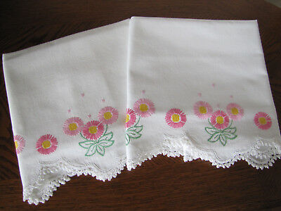 Vintage Pair of Pillowcases Embroidered & Crocheted Scrolling Asters Exquisite