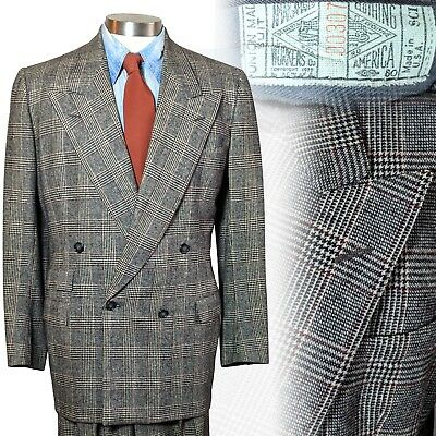 Vintage 1940s 4x2 double breasted ticket pocket Glen Plaid Mens Suit 40 28x32