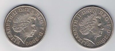 Set of 2 2000 Great Britain 5 Pound Coins XF