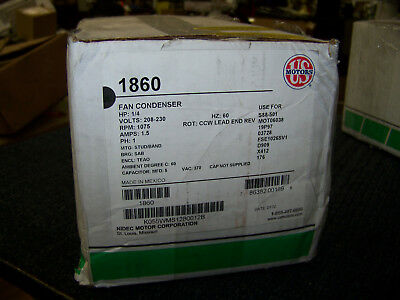 US Fan Condenser Motor 1/4 HP 208-230V 1075 RPM 1 Ph 60 Hz K055WMS1280012B 1860