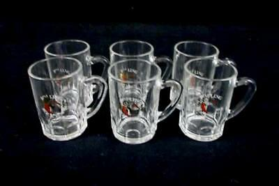 Lot of 6 Rock Bock Clear Handled Miniature Stein Shot Glasses