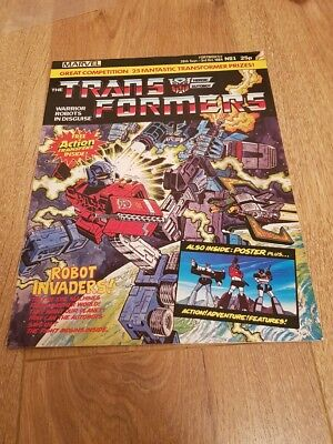 Transformers Comic #1 Marvel UK 1984 RARE Poster still attached