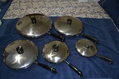 Vintage Lot of 10 Pieces Revere Ware Copper Clad Bottom Skillets w/lids