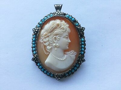 Antique vintage carved shell cameo pin/pendant w marcasites & blue glass stones