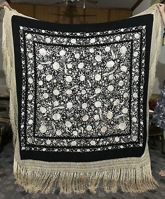 """Antique Chinese Hand Embroidery Pure Silk Piano Shawl 63"""" X 63"""" FRINGES 20"""""""