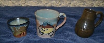 Merritt Island Pottery  Lot of 3 Sake Cup, Coffee Cup and pitcher