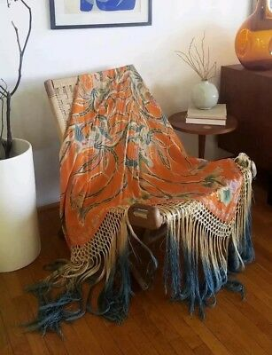 Antique Vintage Exquisite 1920s Rooster Tassel Piano Shawl