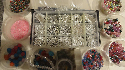 JUMBO Jewellery Making Kit Silver Gold Large Selection f Beads Charms & Findings