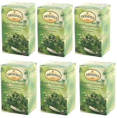 TWININGS PURE PEPPERMINT  HERBAL TEA BAGS 6x20 6 BOXES CAFFEINE FREE