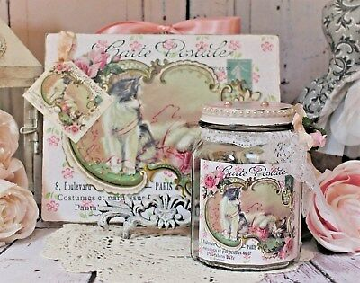 Shabby Chic French Country Cottage style Wall Decor Sign/Glass Jar Vintage Cats