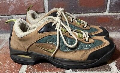 best service 50958 3d3e6 Nike ACG Brown Leather Green Nylon Trail Hiking Shoes - Women s Size 10