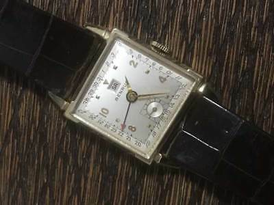 BENRUS Antique Vintage Hand Wind Square Watch Small Second 14K Gold Silver Dial