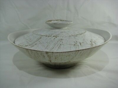 "Vintage 11"" Beige & Brown Stripes Pottery Mixing Serving Bowl with Lid Used"