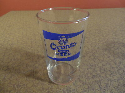 "Vintage 1950's OCONTO Premium Beer Glass 4 1/4"" Tall"