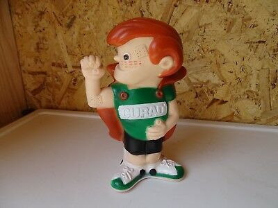 Curad Taped Crusader Vinyl Coin Bank w/ Plug 1975 Bandaids Advertising